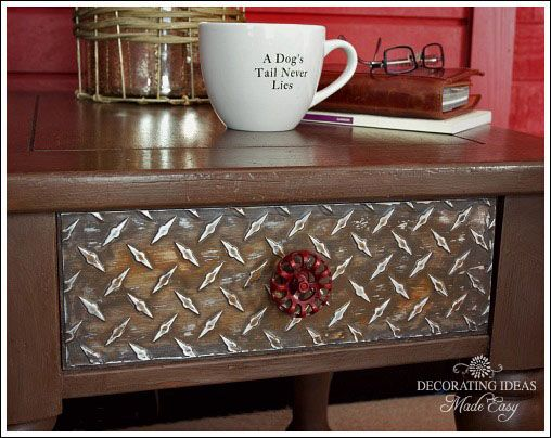 Use painted sheets of diamond plate to give furniture an industrial flavor.