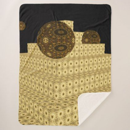 Kaleidoscope 3D Steps and Globes Brown Floral Sherpa Blanket - diy cyo personalize special gift idea