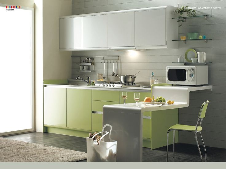 Kitchen Small Contemporary Kitchen Design Ideas With White Kitchen Cabinet  Design With Cream Fur Rug With Green Kitchen Interior Design Ideas With  Small Part 36