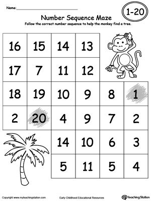 Practice recognizing number sequence 1 through 20 by following the correct numbers through the maze with this printable worksheet.
