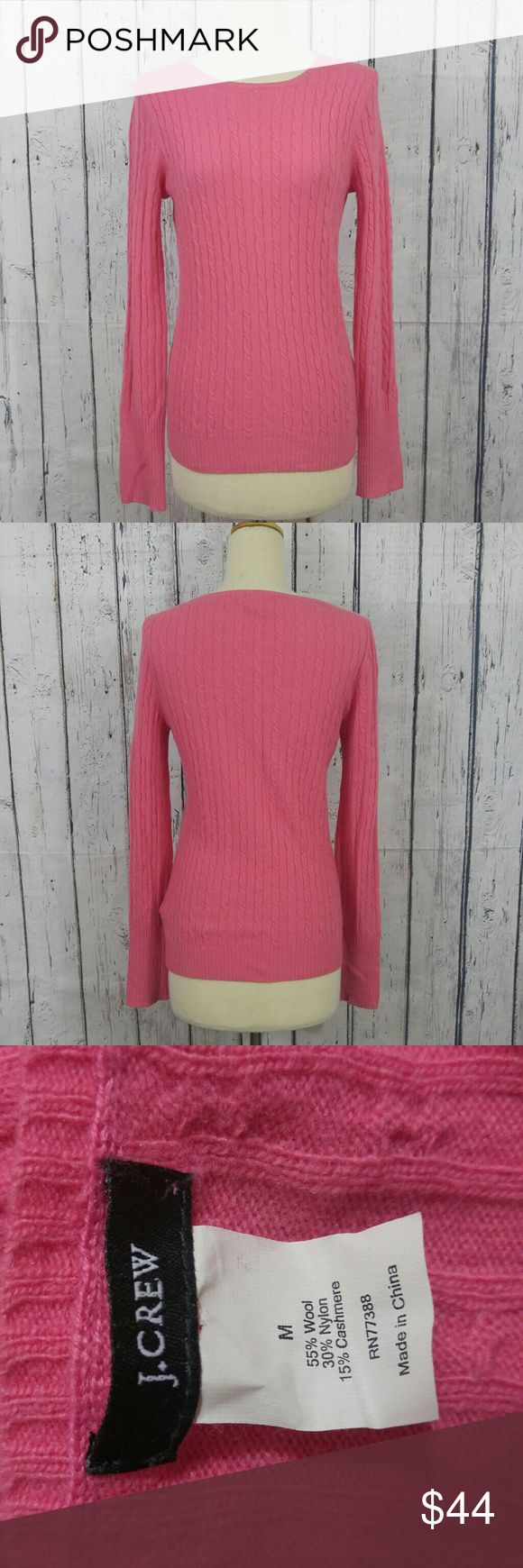 "J. Crew Cambridge Cable Crewneck Sweater J. Crew Cambridge Cable Crewneck Sweater  in a salmon pink. Size Medium, great pre worn condition no flaws. Fabric is cashmere blend  Measurements are below, taken straight across with the garment laying flat  Bust - 16"" Length - 24.5""  00831229499 J. Crew Sweaters Crew & Scoop Necks"