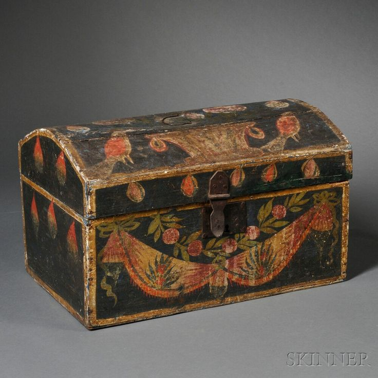 Decorative Trunk Boxes: Paint-decorated Dome-top Trunk....~♥~