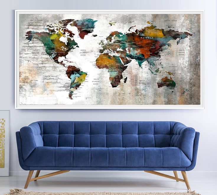 World Map Wall Art, World Map Print, Large World Map Art, World Map, World Map Push Pin, Push Pin Map Art Poster Print, Travel Map Art - L163