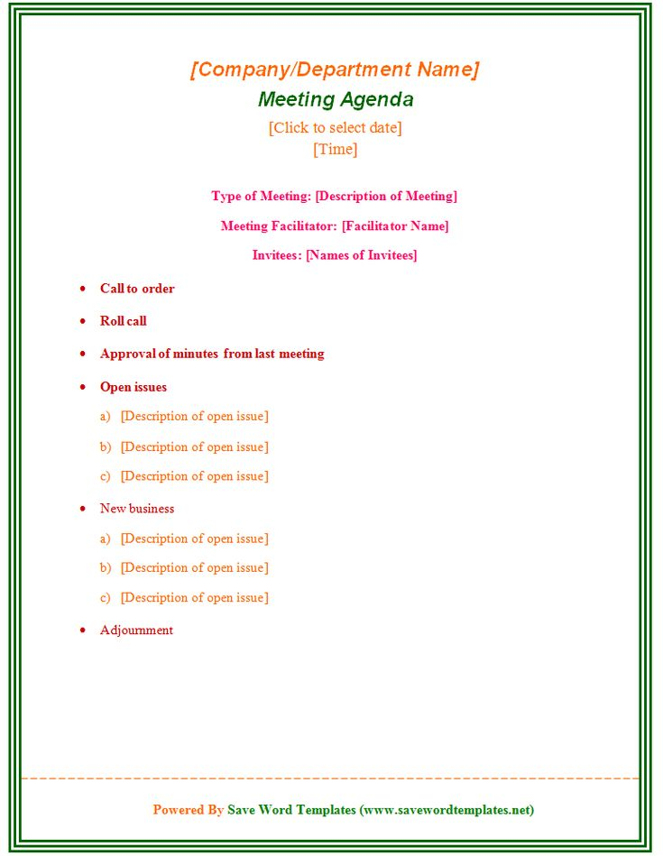 Enticing Template Word Sample for Meeting Agenda with Type of Meeting and Facilitator and Invitees also Colorful Font and Green Outline : Thogati