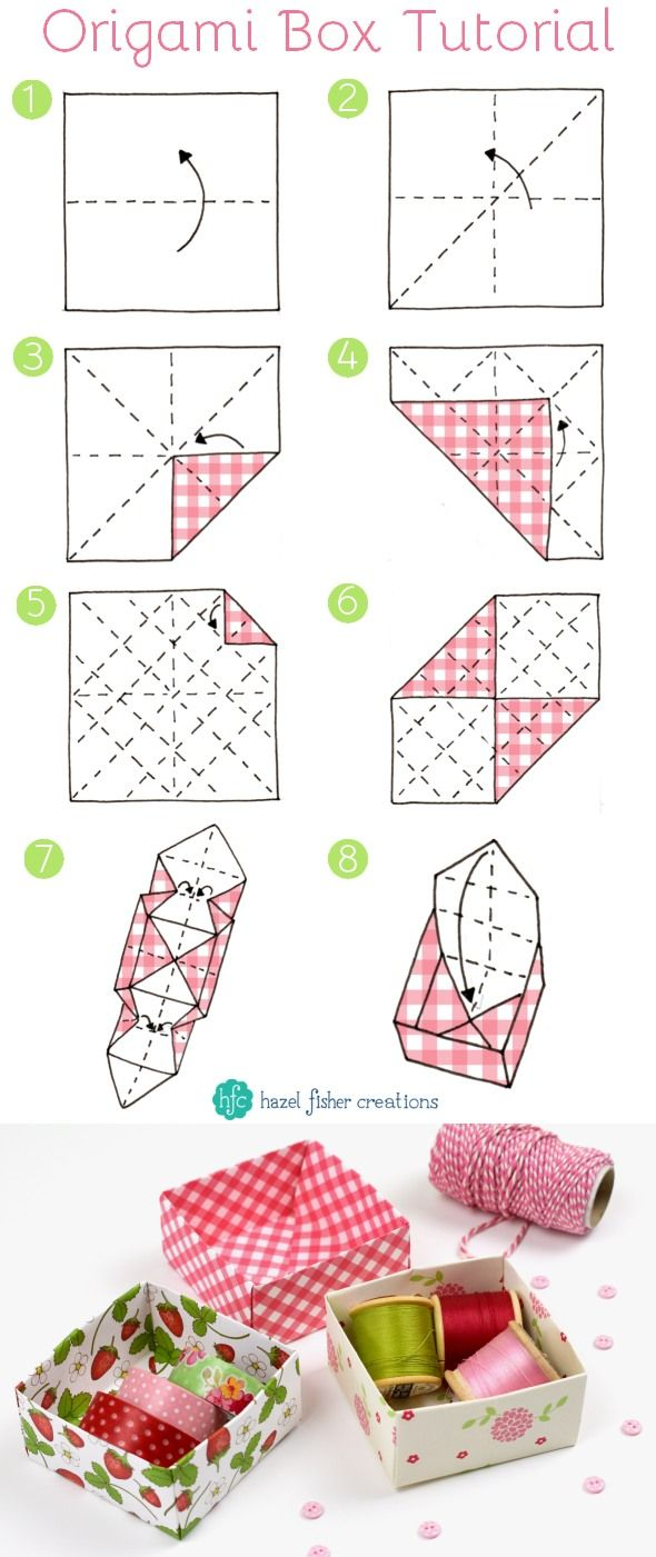 Learn how to make Origami boxes - use them to store craft supplies or make as gift boxes. Click through to find out where you can download the pretty summer strawberry papers used in this tutorial.