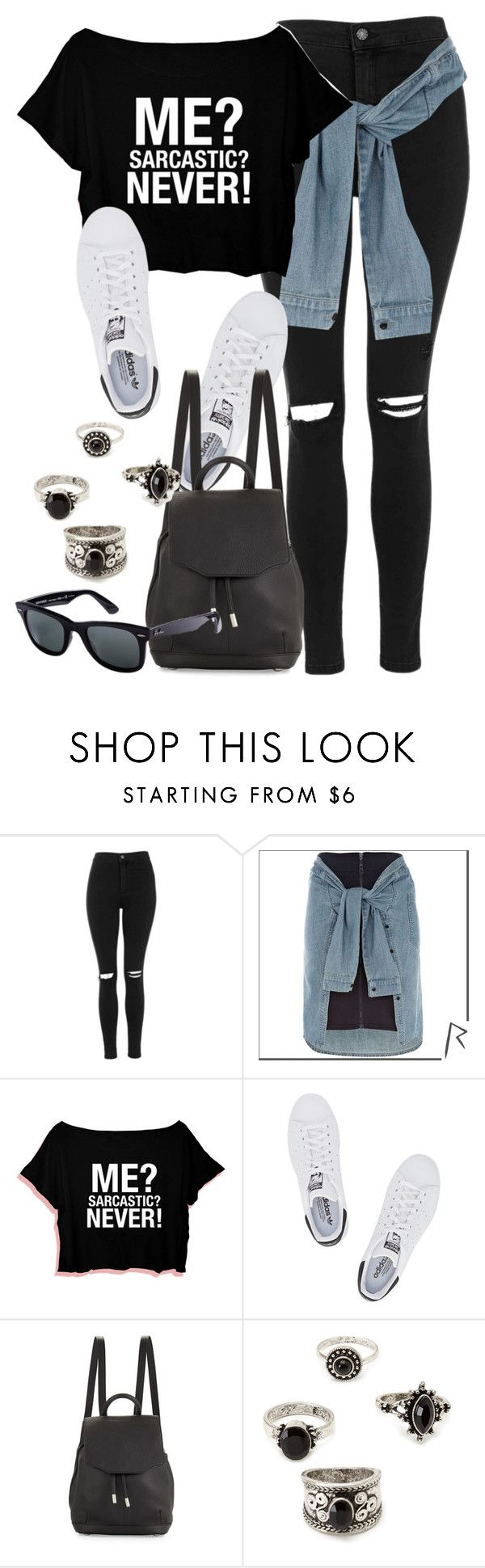 """""""Style #10209"""" by vany-alvarado ❤ liked on Polyvore featuring Topshop, River Island, adidas Originals, rag & bone, Forever 21 and Ray-Ban"""