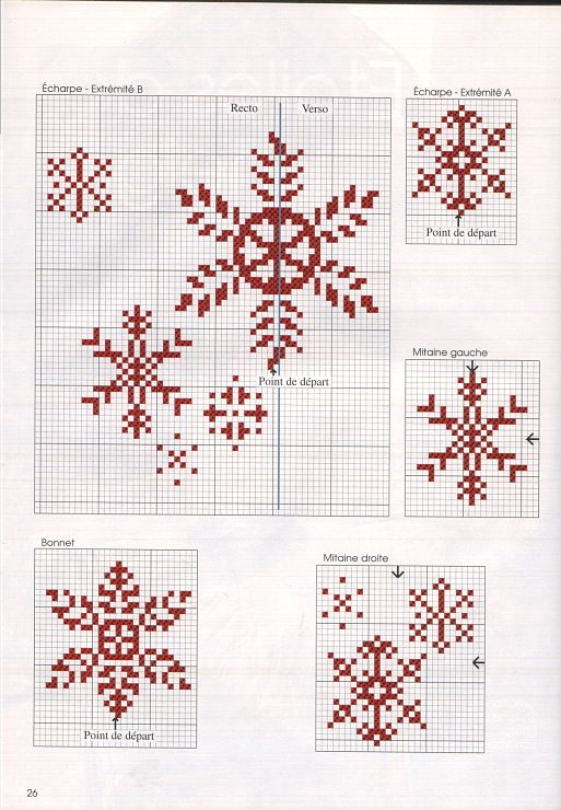 Cross-stitch Snowflakes... no color chart available, just use pattern chart as your color guide.. or choose your own colors...