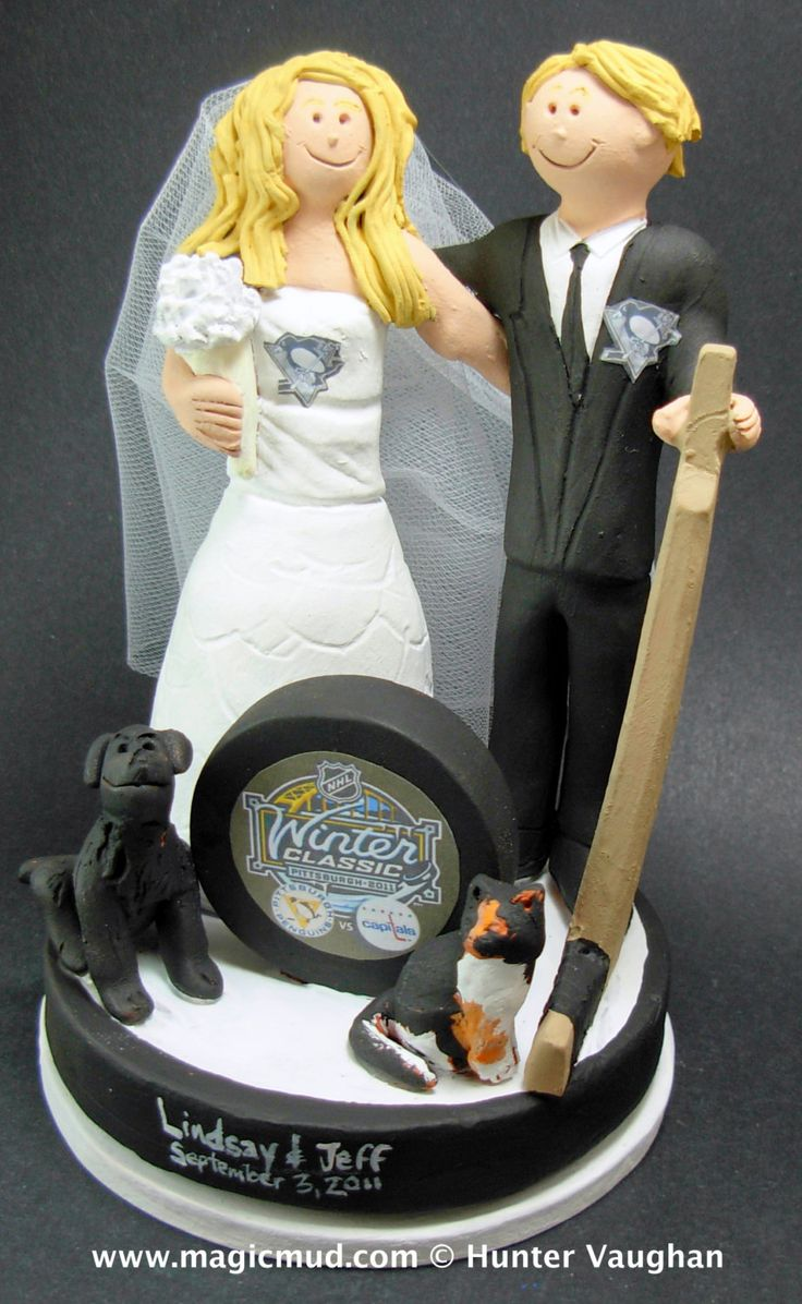 Pittsburgh Penguins Wedding Anniversary Gift, Hockey Bride and Groom Wedding Cake Topper, Hockey Marriage Figurine    Hockey Wedding Cake Topper, custom created for you! Handmade to your specifications by magicmud.com of kiln fired clay. Perfect one of a kind personalized keepsake for a NHL Hockey Wedding.    $235 #magicmud 1 800 231 9814 www.magicmud.com