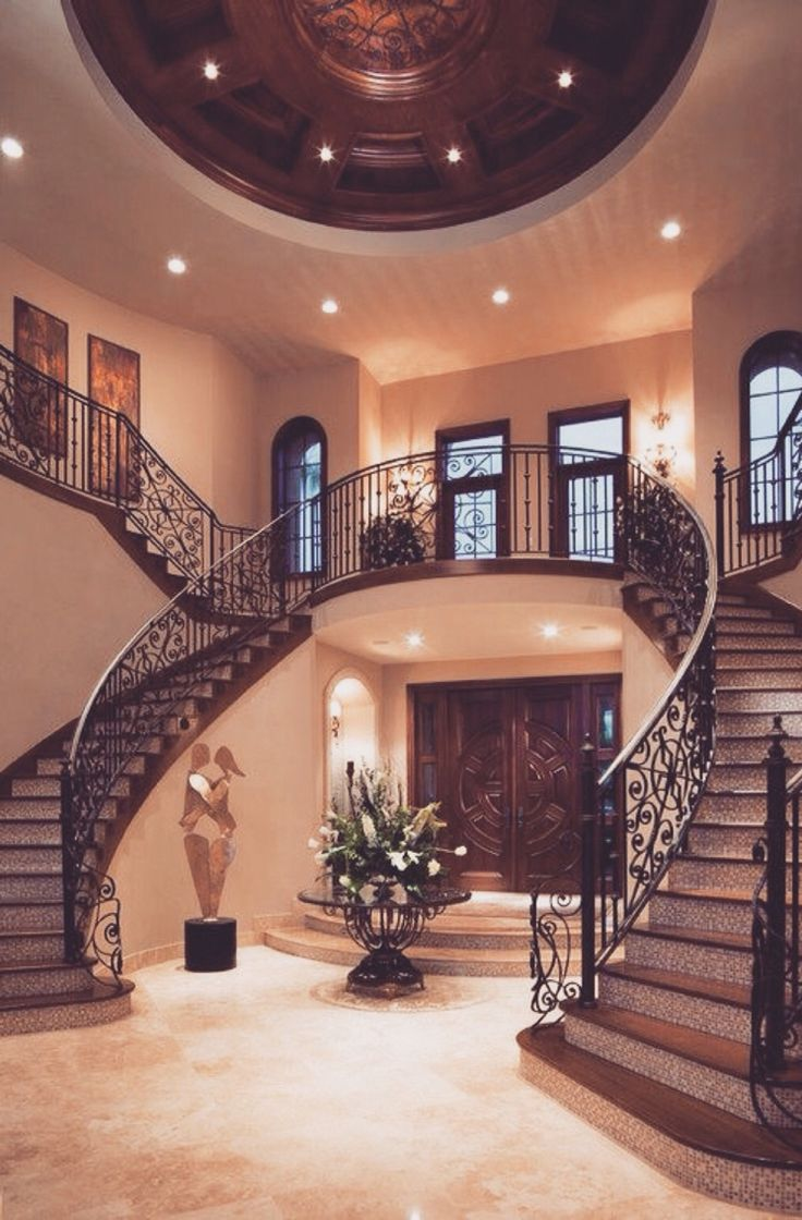 twin staircase design is a classic that never fails in the grand mediterranean villa decoist