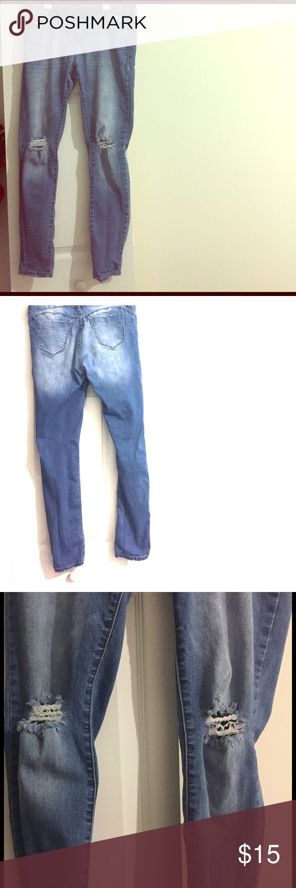 Wet Seal Blue Asphalt brand distressed denim jeans Wet Seal Blue Asphalt brand distressed worn straight leg denim jeans. I bought it already distressed. Bought in 2015, but kept in good condition ever since. Size is a US 13, and a EU 31. The legs are not very long. Fits someone with shorter legs. Wet Seal Jeans Straight Leg