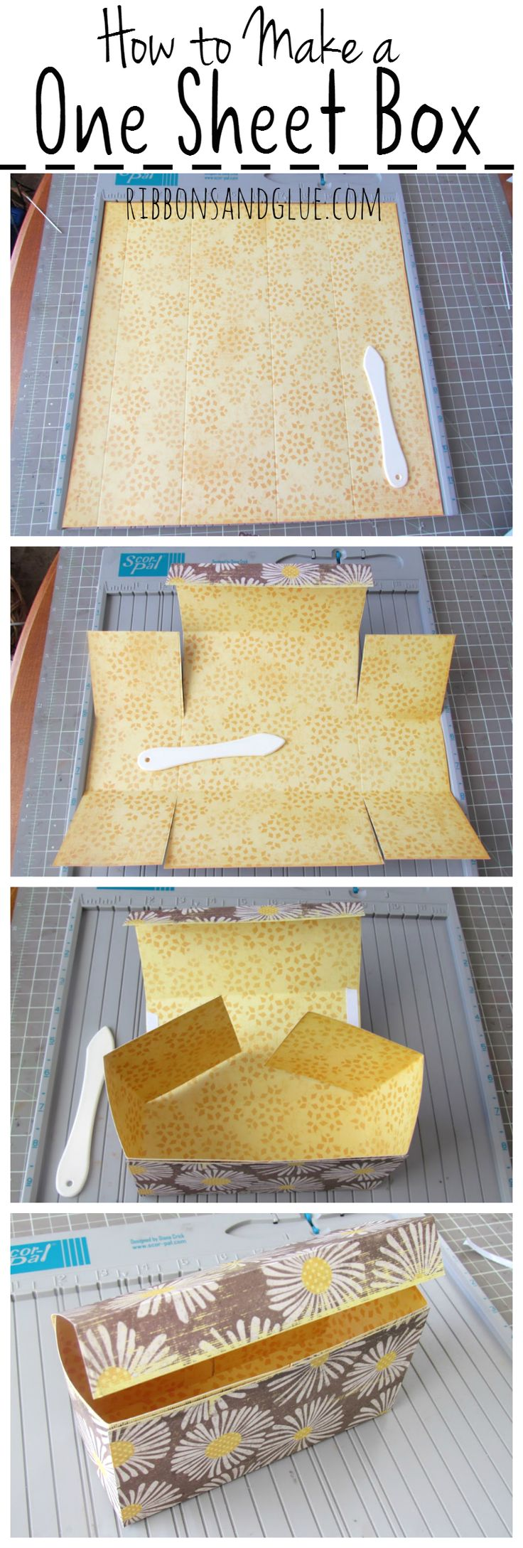 DIY box: Easy Box Tutorial made out of one sheet of 12 x 12 Scrapbook Paper. This perfect size treat box can easily hold a small gifts or homemade treats. Printable step by step instructions included too.