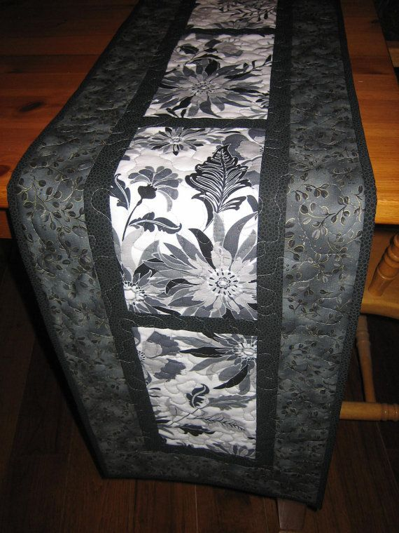 Quilted Table Runner Black and White with Gray  $58