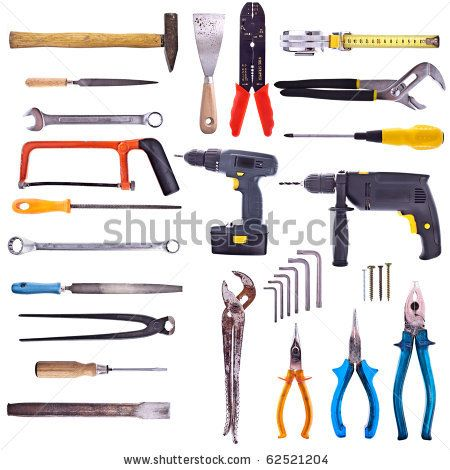 Large Collection Of Used Tools - Completely Isolated On White, Very High Detail. Stockfotonummer: 62521204 : Shutterstock