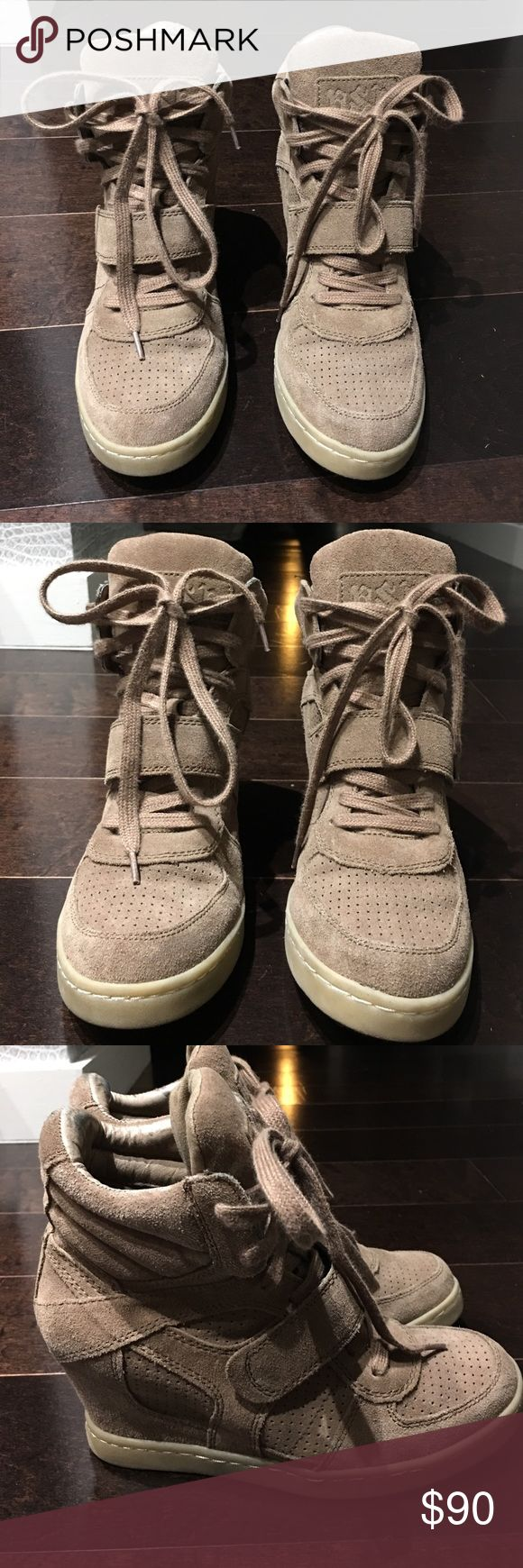 Ash Women's Brown Bowie Suede Wedge Sneaker, 39 Authentic Ash Women's Brown/Dark Beige Bowie Suede Wedge Sneaker. Size 39. Excellent, like new condition. Literally worn twice. Retail $325! Comes with original dust bag. Ash Shoes Wedges