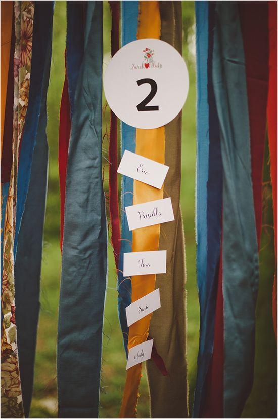 Boho wedding: ribbon wall escort card idea