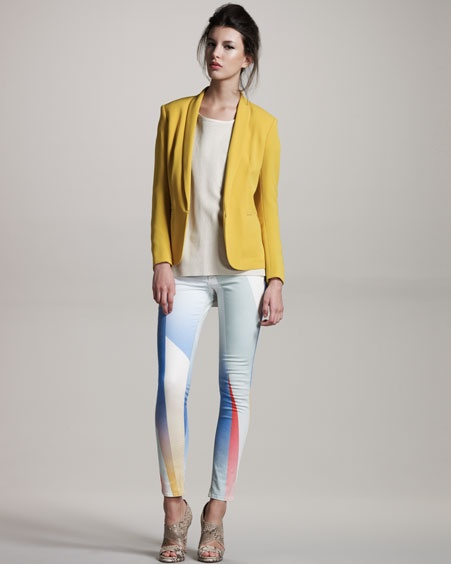 There is something so Gem & the Holograms about these Rag & Bone Goetz-Print leggings. And we dig it.   The yellow tuxedo jacket is pretty rad, too.: Tuxedo Jackets, Tuxedos Jackets, Bones Goetz Prints, Leather Tops, Baileys Cutout, Rag And Bones, Bergdorf Goodman, Yellow Jackets, Bones I