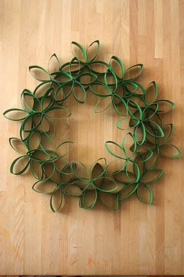 Wreath made out of toilet paper rolls! Have to remember this for Christmas coming!