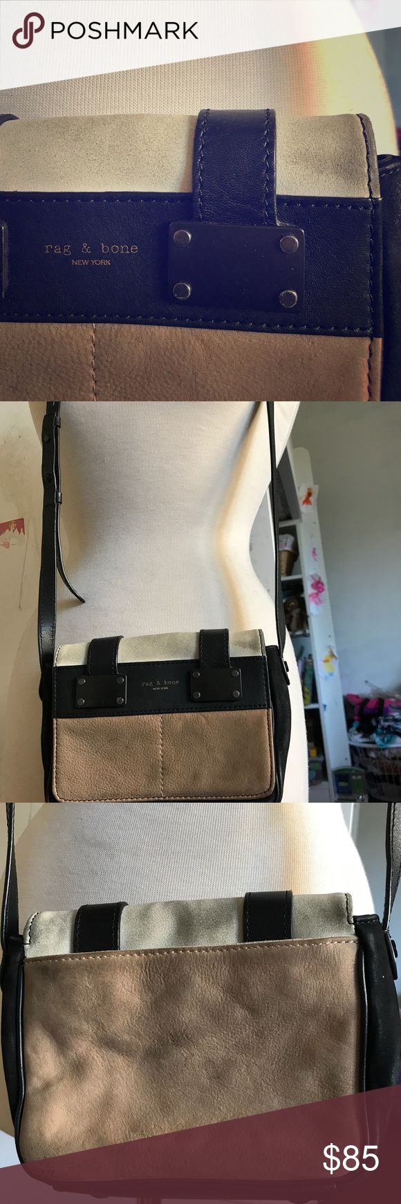 Rag and bone cross body bag Beautiful cross Body by Rag and bone free of rips and odors but does have conditioning so it is priced to sell. Can easily be thoroughly cleaned by leather specialist or a great cleaner. Made up of leather and suede. Serious buyers only. No space for trades or low ballers selling only..open to best offers..thanks for looking🙏 rag & bone Bags Crossbody Bags