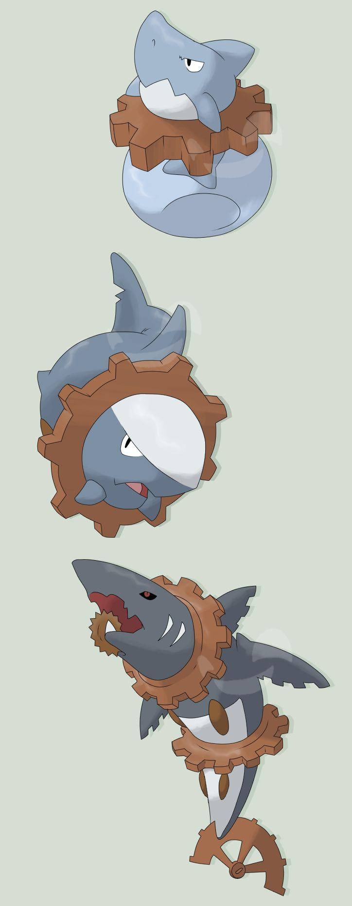 Snappog - Tight Pokemon - Water/Steel, Shagear - Tight Pokemon - Water/Steel, Meglachine - Big Shark Pokemon - Dark/Steel