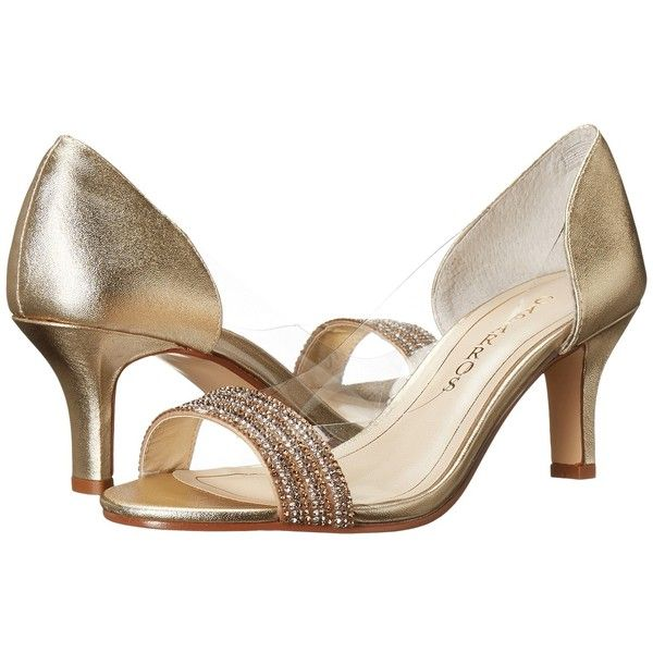 Caparros Fancy (Medium Gold Metallic) High Heels ($60) ❤ liked on Polyvore featuring shoes, pumps, slip on pumps, metallic gold shoes, clear high heel pumps, dressy shoes and open-toe pumps