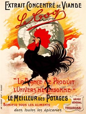 Le Coop 1900 France - Beautiful Vintage Poster Reproductions. This vertical french culinary / food poster features a black and red rooster in front of a globe, clouds and sunset. Giclee Advertising Print. Classic Posters. Le Meilleur des Potages