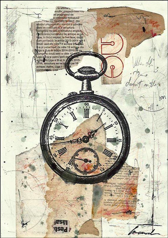 Print Art Ink Abstract Christmas Drawing Time Clock Collage Mixed Media Painting Art Illustration Autographed Emanuel Ologeanu