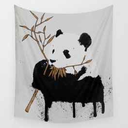 Panda with Golden Bamboo Wall Tapestry