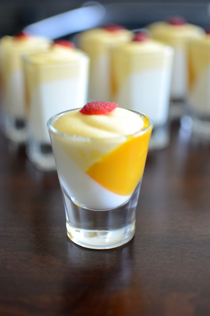 Whisk Affair: vanilla panna cotta with mango mousse, in a shot glass