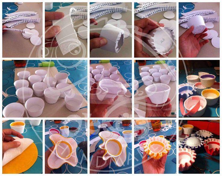 Tutorial e cartamodello scaricabile gratis per realizzare cupcakes in feltro con scatola in cartoncino per i confetti,