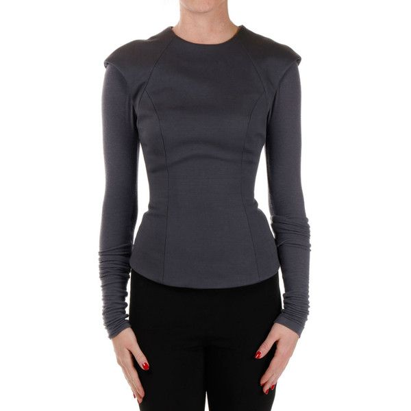 GARETH PUGH Long sleeve TAILORED Top ($295) ❤ liked on Polyvore featuring tops, grey, tailored tops, grey long sleeve top, zip top, zipper top and crew top