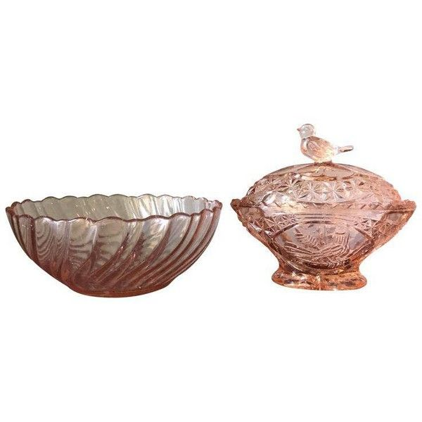 Traditional Pink Depression Glass Bowls - A Pair ($75) ❤ liked on Polyvore featuring home, home decor, decorative bowls, depression glass bowl, pink home decor, bird bowl, traditional home decor and pink bowl