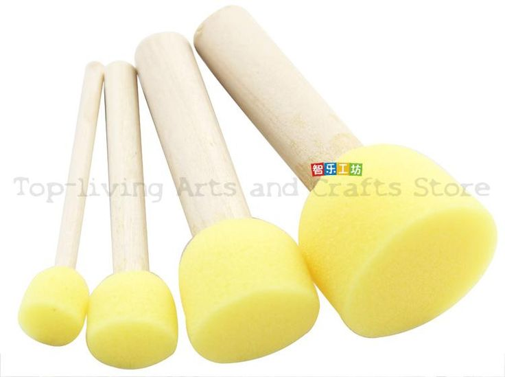 (4Pcs/Sell) Sponge Brush For Kids Painting Watercolor Brush Art Supplies Great Brush Set Wooden Body With Sponge Hair 4 Size