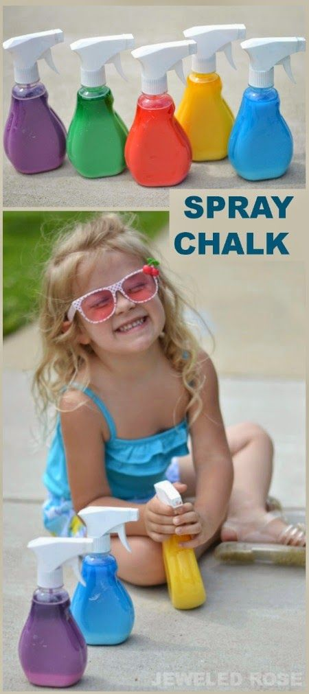 Liquid chalk makes a great spray paint for kids and is sure to keep them busy for a good, long time.  It took hours for Rosie and Jewel to run out of the spray chalk, allowing them to create art on an