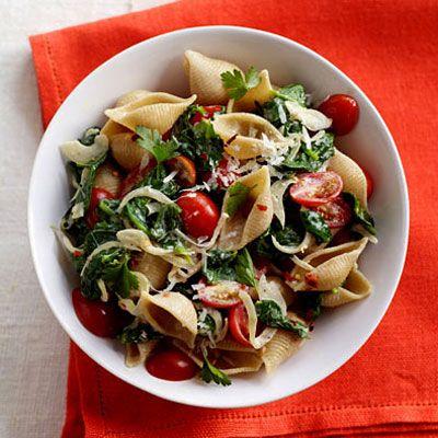 spinach-tomato-pasta shells: Guy Fieri, Pasta Dishes, Food, Shells Recipe, Health Com, Spinach Tomato Pasta Shells, Tomatoes, Favorite Recipes