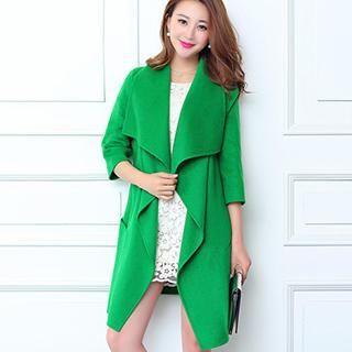 Wide-Lapel Wool Coat