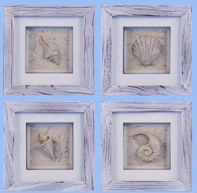 Weathered beach shell shadowbox set of 4 for Coastal wall decor ideas