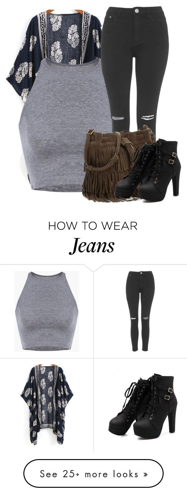 """ripped jeans"" by ridiculousness444 on Polyvore featuring Topshop"