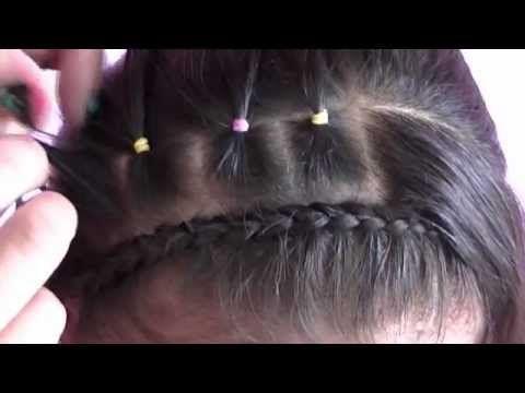 peinado de  niña paso a paso con trenza decorada y ligas