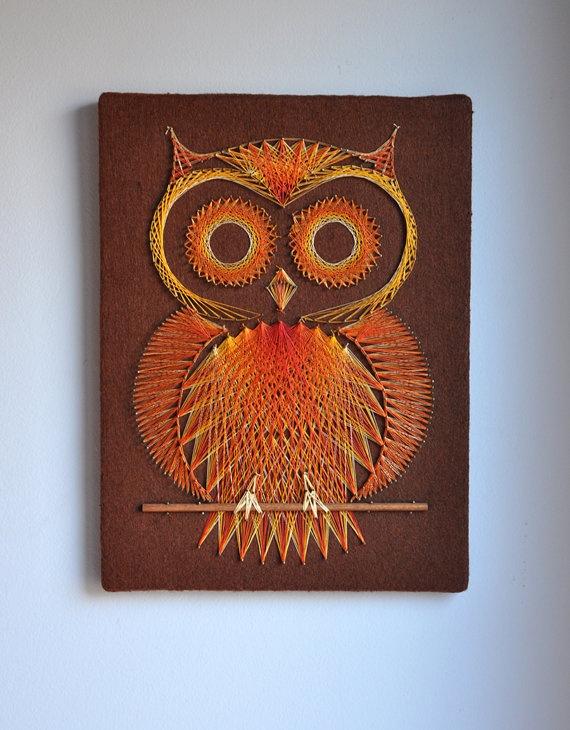 Retro Owl String Pin Art by MisterTrue on Etsy, $42.00