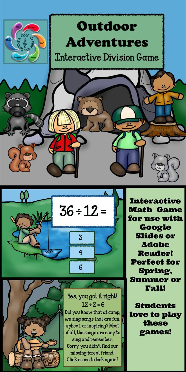 Outdoor Adventures -Division is an interactive fall themed math game designed for both Google Slides and Adobe Reader (PDF). It allows students go on a virtual adventure visiting different Fall/Autumn scenes to help the children with practicing their division skills and provide teachers an opportunity to assess students in the process.