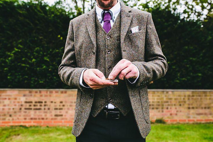 Tweed Jacket Waistcoat Groom Colourful Village Like Earthy Fun Tipi Wedding http://storry.co.uk/