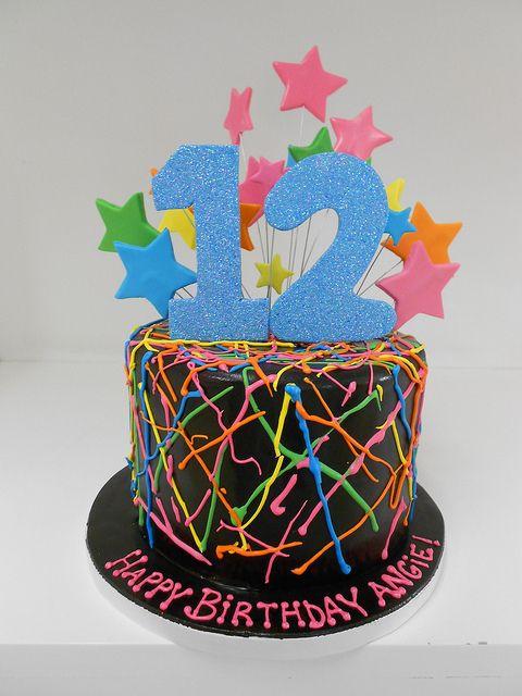 fun neon and star birthday cake
