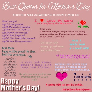 Sharing the Love on Mother's Day <3 REPIN!  http://kristinacrosbie.blogspot.ca/2013/05/best-quotes-for-mothers-day.html