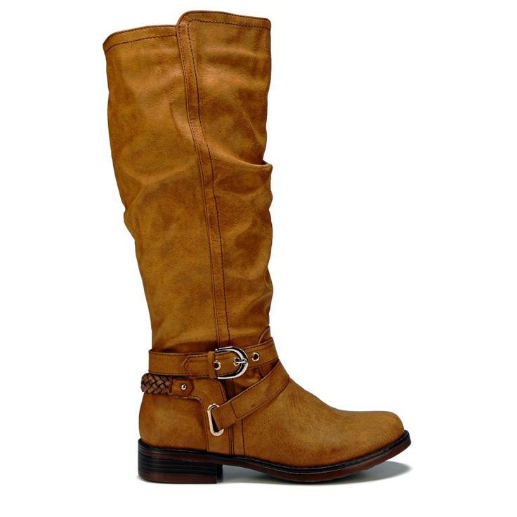 XOXO Women's Martin Wide Calf Boots (Tan)
