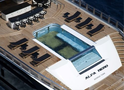 The pool on the deck of this yacht, the Alfa Nero, raises up and drains to serve as a helipad.