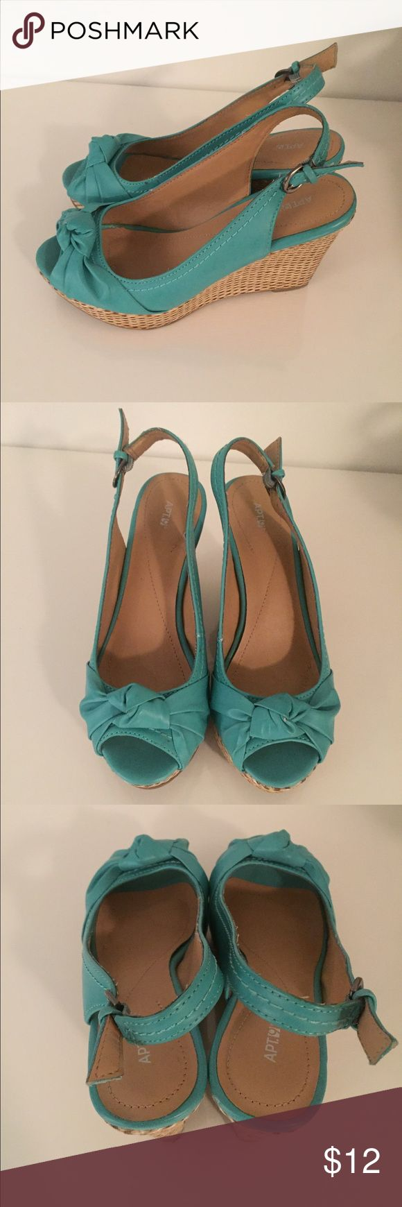 Teal wedge sling backs Very comfortable wedge heels. Need these out of my closet ! Apt. 9 Shoes Wedges