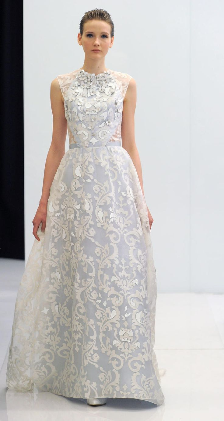 Stunning high-neck wedding gown | Angel Sanchez Spring 2017 | https://www.theknot.com/content/angel-sanchez-wedding-dresses-bridal-fashion-week-spring-2017