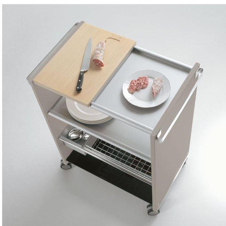 Carrello Multi Funzioni Telaio Bianco con ripiani asportabili e intercambiabili cestello cromato e tagliere COMBI