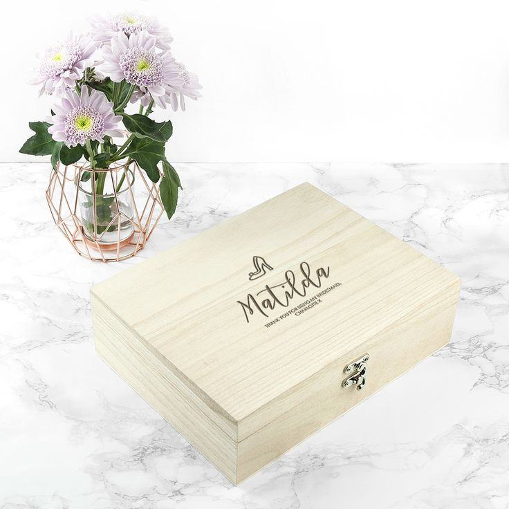 A fantastic gift for every member of the wedding party!  From the Mother of the Bride, the groom, the bridesmaids to the best men and ushers - this box does it all. Made from pine Two sizes to choose from Personalise with a name, icon and message