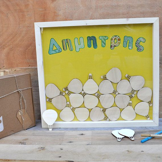 Wood frame guest book for baptism with 20 pieces by mywoodydinner